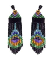Beaded Peacock Feather Fringe Earrings by beadedpatterns