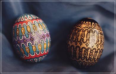 Handpainted Hen Eggs - Venetian by Jade-Pandora