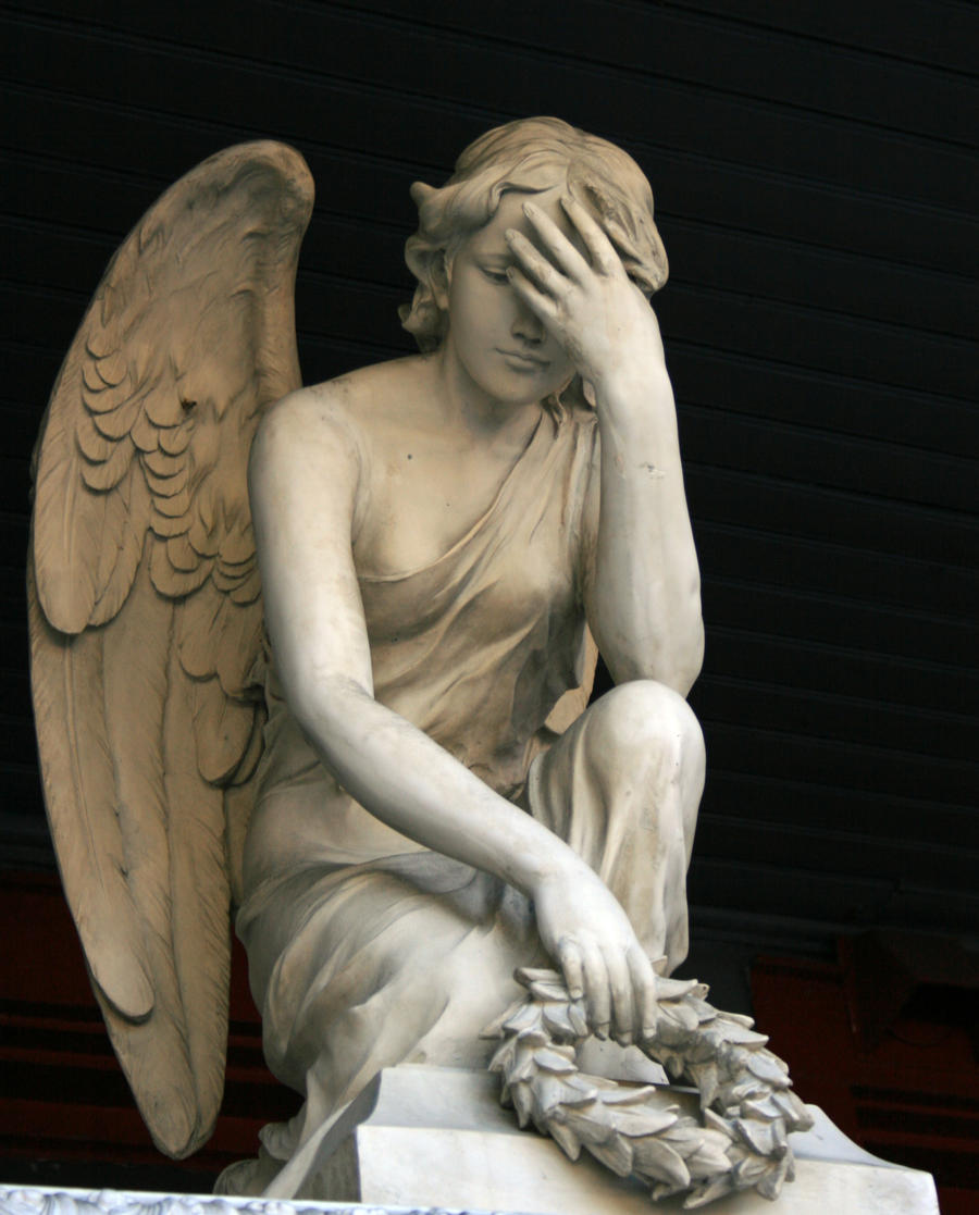 angel statue facepalm by evilqueen112