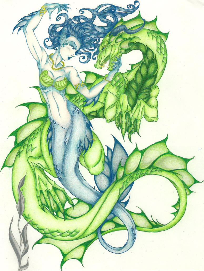 Mermaid and Dragon by g0th1c4-225 on DeviantArt