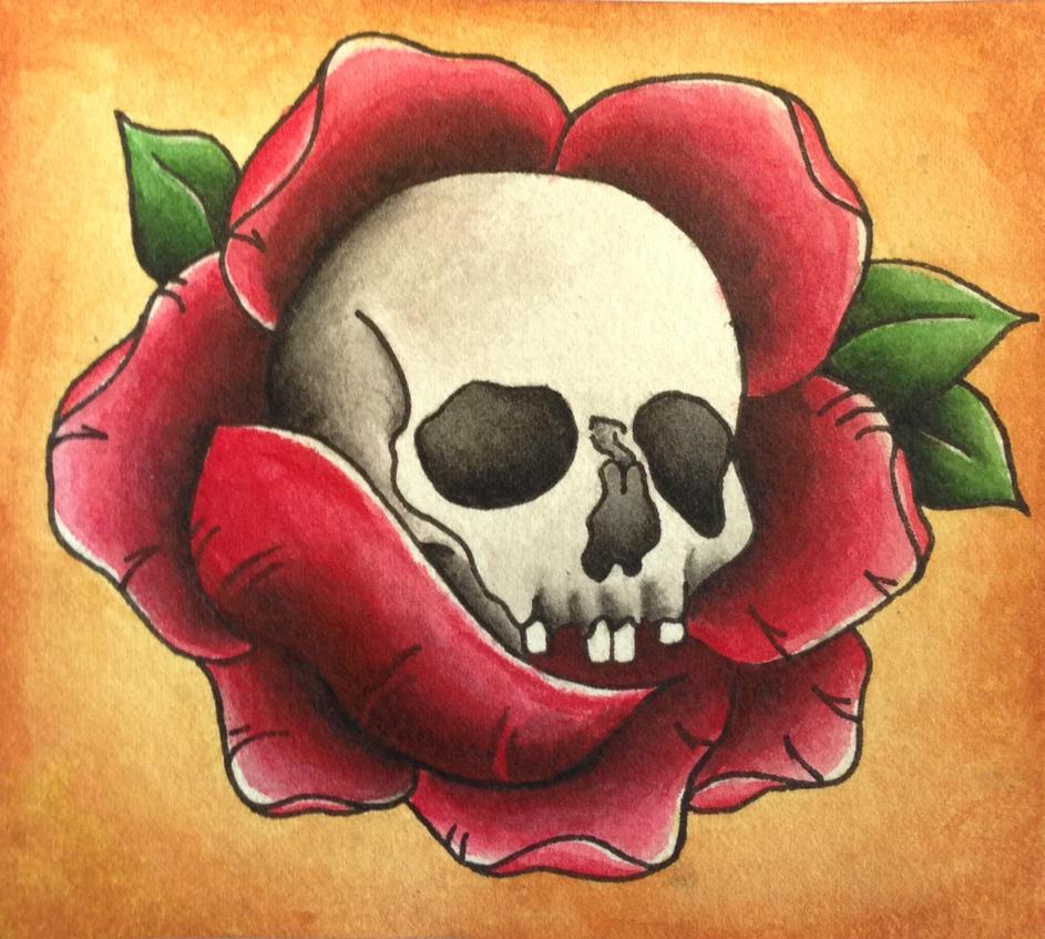 traditional skull rose tattoo design by christianneng on deviantart. Black Bedroom Furniture Sets. Home Design Ideas