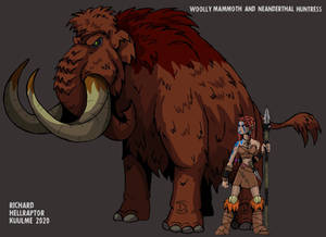 Woolly Mammoth and Neanderthal huntress