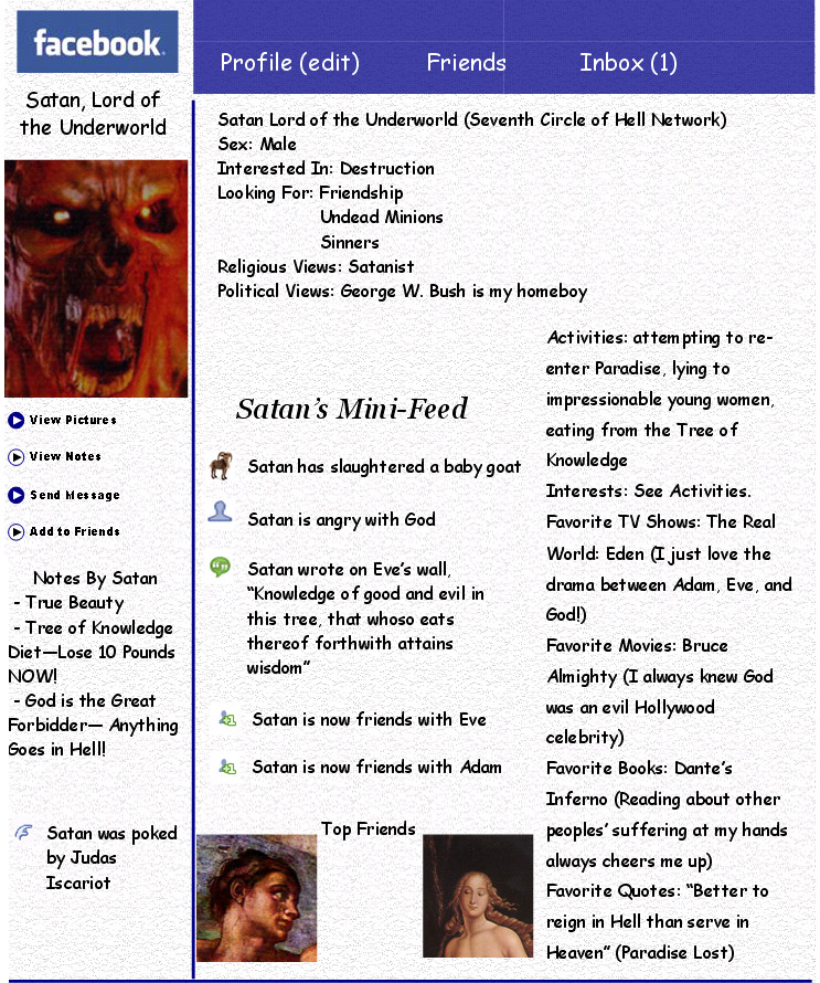 Satan's Facebook by crazykitsune17