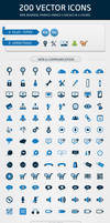 200 Web Icons in 5 Colors