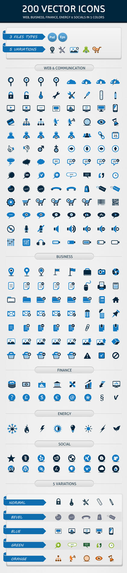 200 Web Icons in 5 Colors by renefranceschi