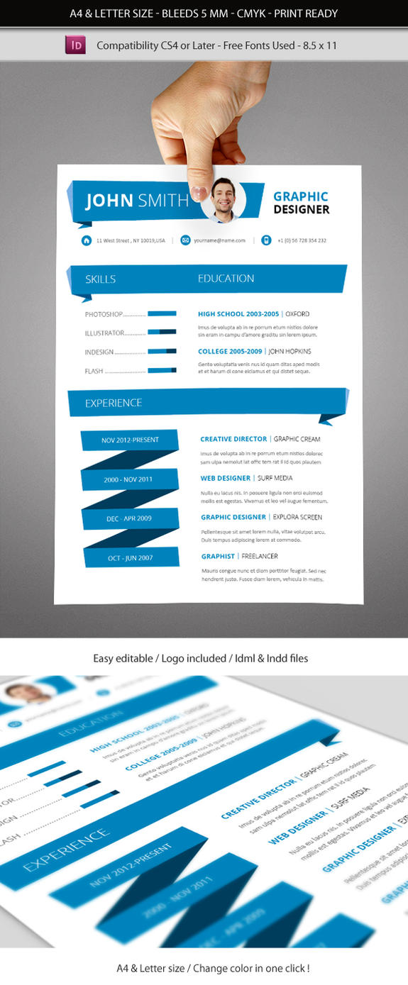 Indesign Resume Template A And Letter Size By Renefranceschi On