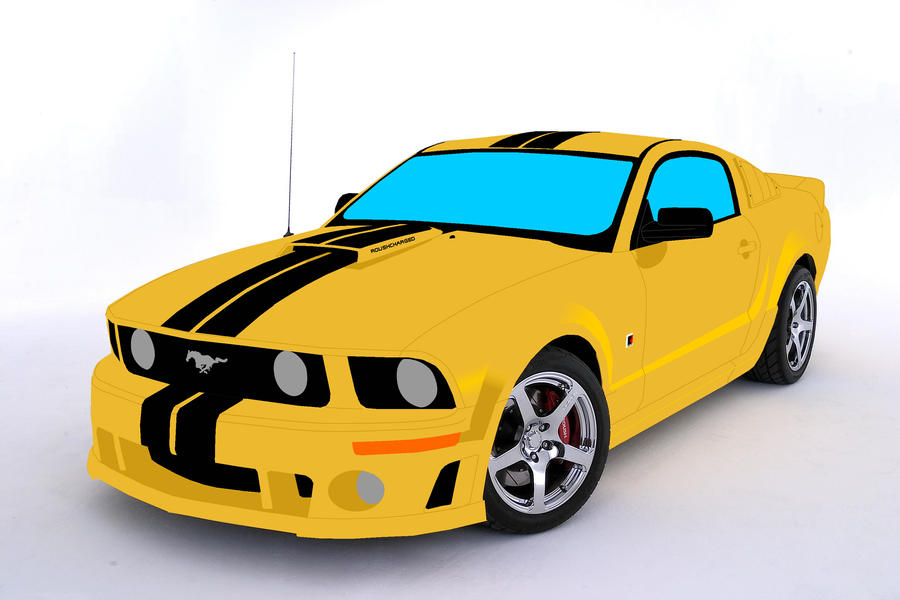 Mustang Logo Drawing Roush Mustang Body Drawing by