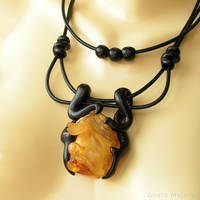 Amber Dragon Necklace by AmberSculpture