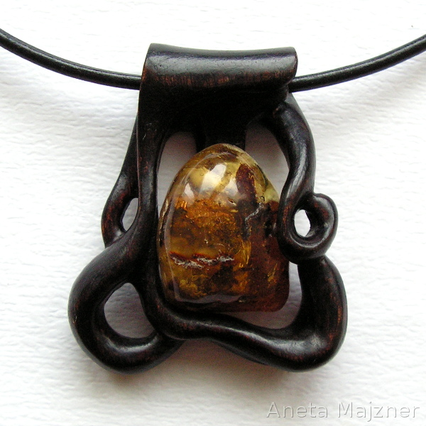 Amber and Wood Necklace 1239 by AmberSculpture
