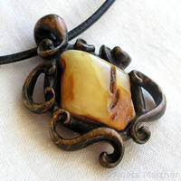 Green wooden pendant with natural baltic amber by AmberSculpture