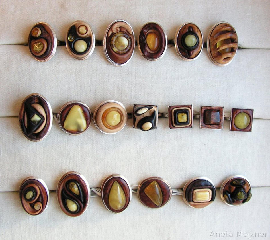 unique handmade rings wood silver by ambersculpture