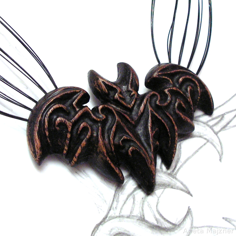 Bat hand carved wooden pendant on a steel string by AmberSculpture
