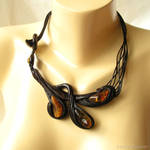 Hand carved wooden necklace with amber 3163