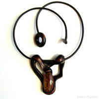 Wooden necklace with amber 1510 by AmberSculpture