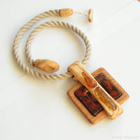 Wooden necklace with amber and ceramic 1580 by AmberSculpture