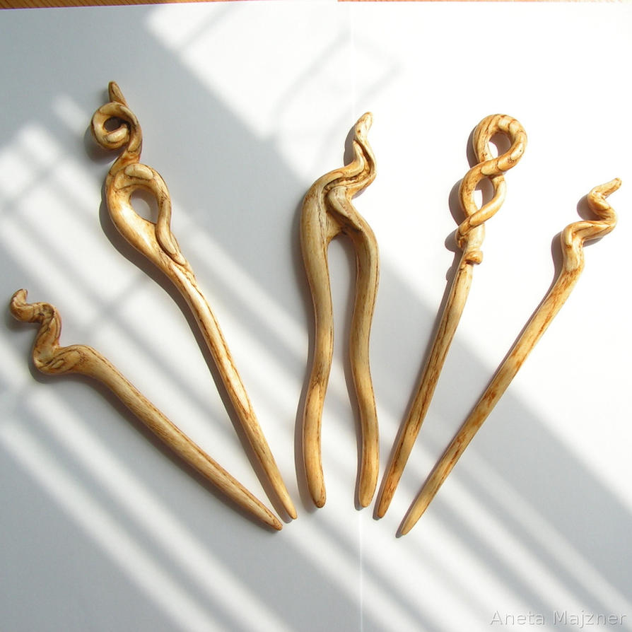 Hand carved wooden hairpins by AmberSculpture