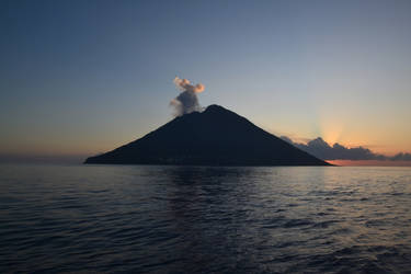 Stromboli Volcano at dawn by rbompro1