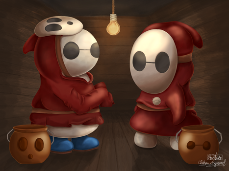 Can I copy your homework? Baymax + Shy Guy Fanart