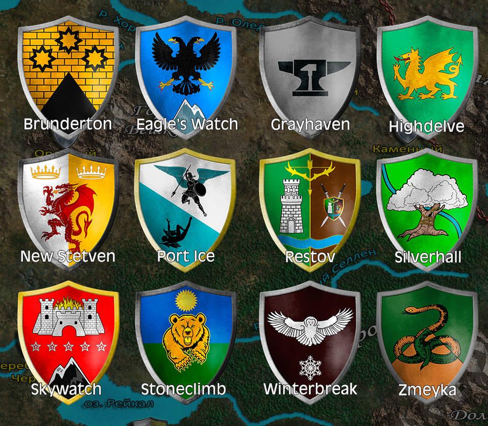 Fan-made heraldry cities of Brevoy by MarkonPhoenix
