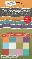 Torn Paper Edge Brushes + Bonus Paper Patterns by Jeremychild