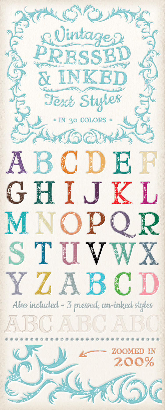Vintage Pressed and Inked Text Styles by Jeremychild