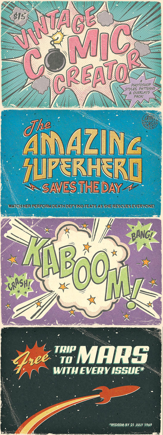 Vintage Comic Book Layer Styles by Jeremychild