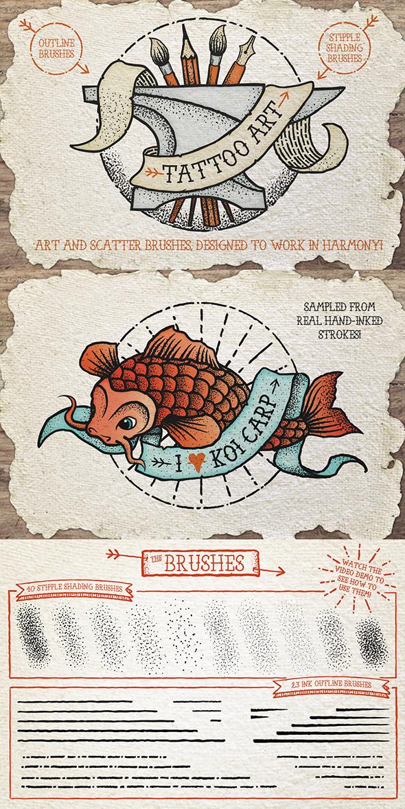 Tattoo Style Art Brushes by Jeremychild