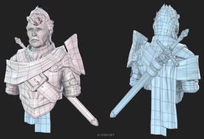 Knight Bust Lowpoly 02 by Alemja