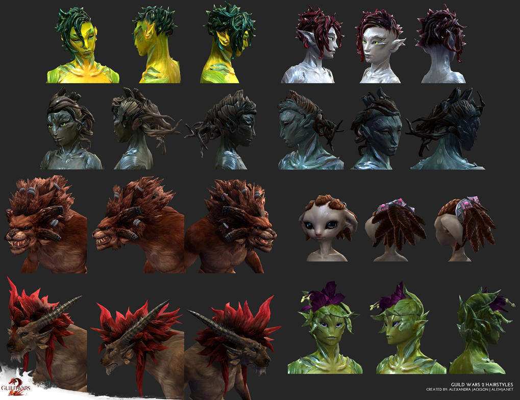 Guild Wars 2 Hairstyles by Alemja