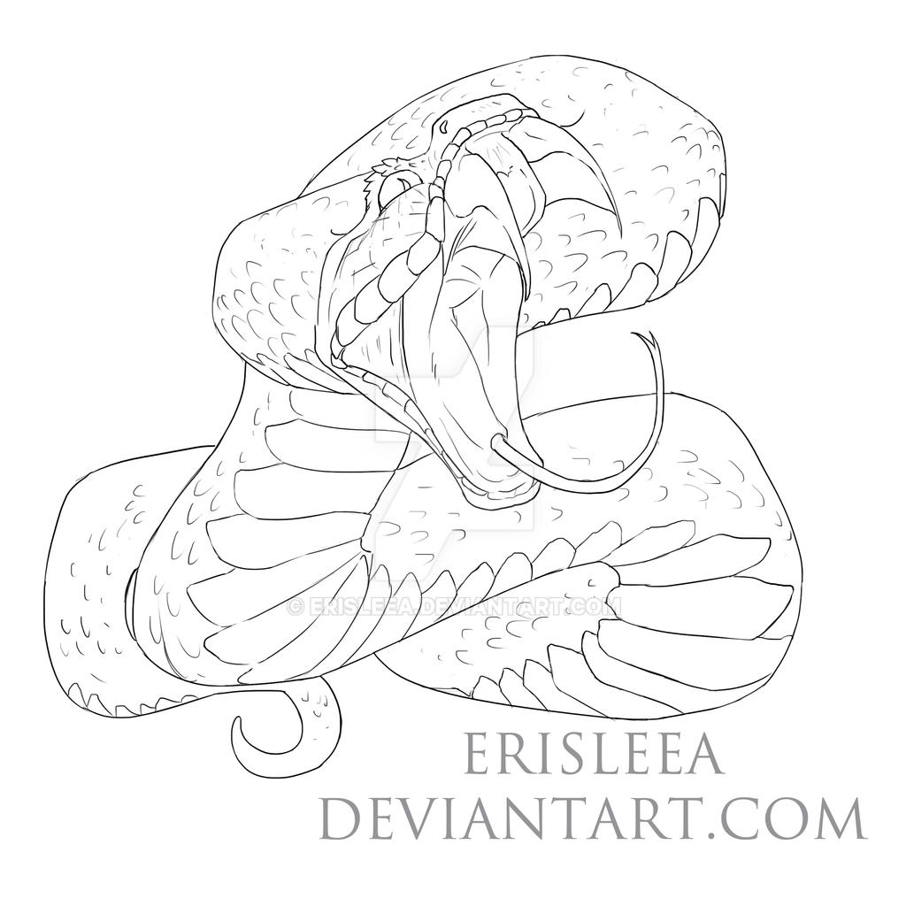 Line Drawings From D Models : Snake lineart by erisleea on deviantart