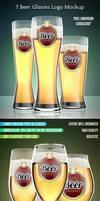 7 Beer Glasses Logo Mock-Up