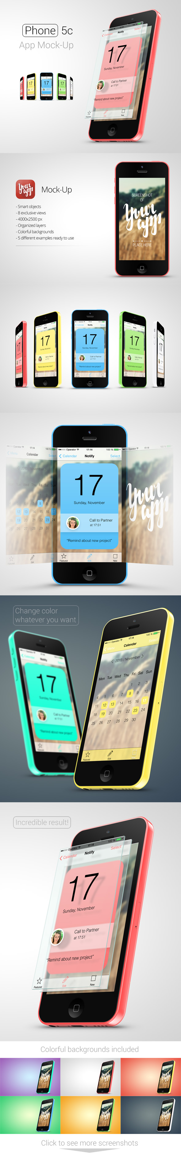 Phone 5c App Mock-Up by kotulsky
