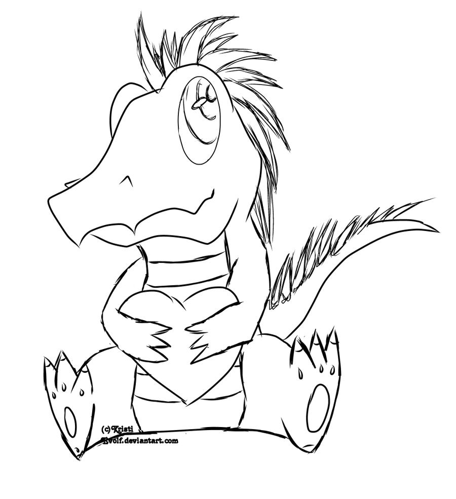 Line Art Dinosaur : Line art male heart dinosaur by evolf on deviantart