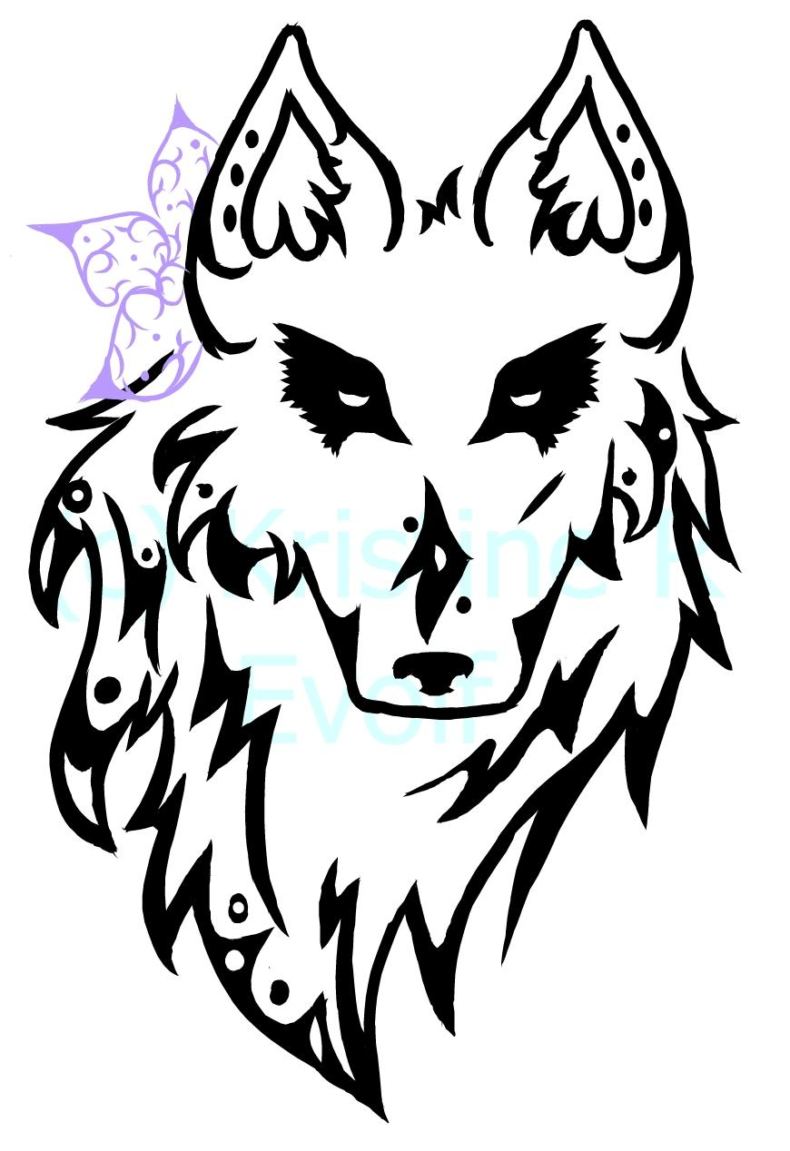 Tribal Wolf Head By Evolf On Deviantart