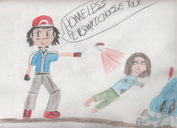 Superfight: Ash Ketchum Throwing Homeless People by leoninja97