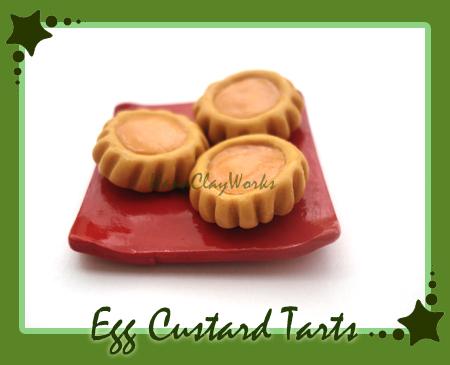 Egg Custard Tarts by HanaClayWorks