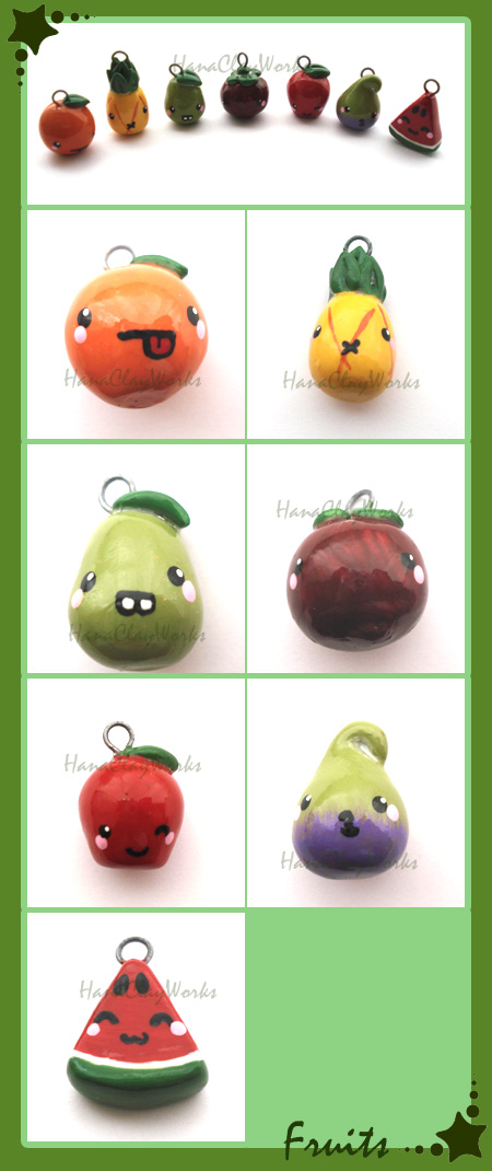 Fruit Charms by HanaClayWorks