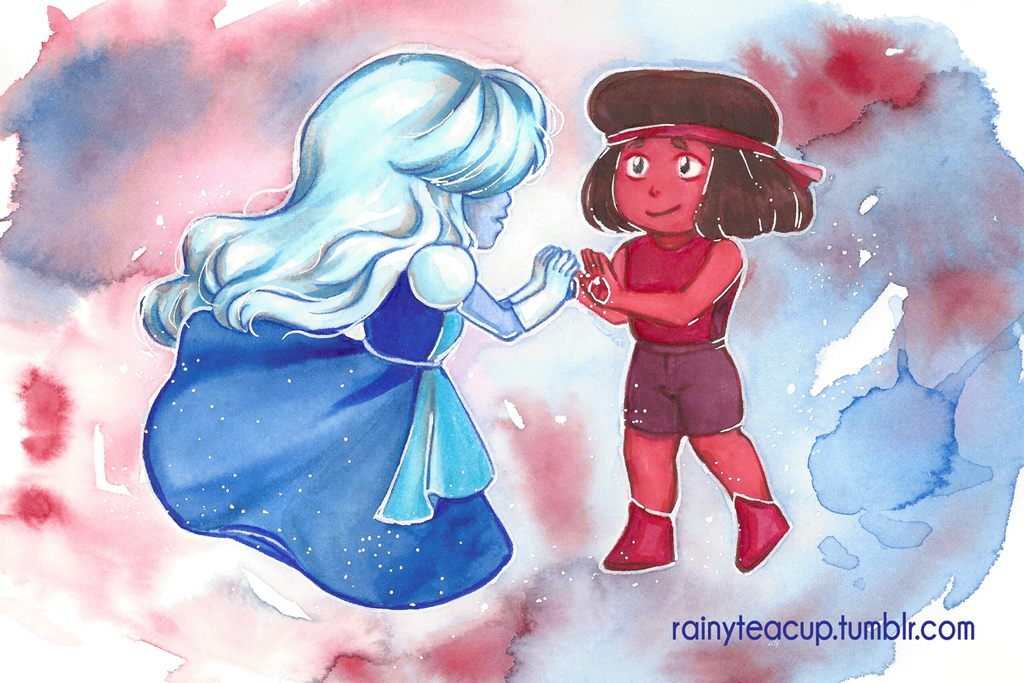 Ruby and Sapphire from Steven Universe. Watercolor and Copics Postcard print available in my store! Tumblr • Twitter • Instagram • Facebook • Store • Website