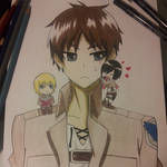 Eren, Chibi Mikasa, and Chibi Armin
