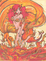 fiery kitsune by MISSluna-kitsune