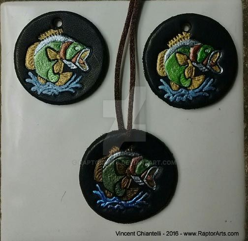 NEW - Hand Crafted Bass Fish Leather Amulet by RaptorArts
