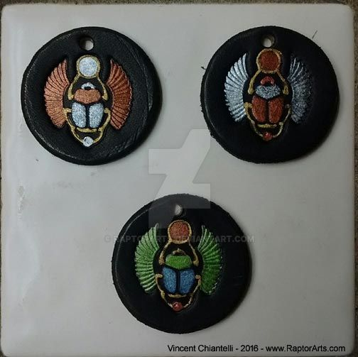 NEW - Hand Crafted Egyptian Scarab Leather Amulet by RaptorArts