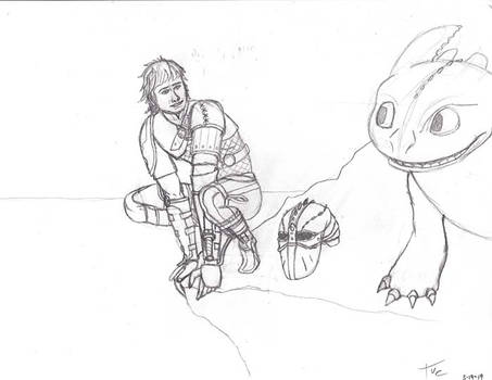 Concept sketch httyd Hickup and Toothless