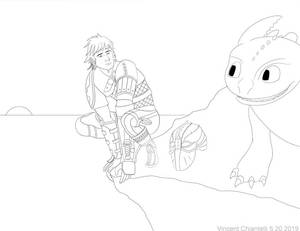 Concept sketch httyd Hickup and Toothless Step 2