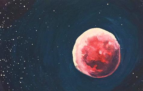 Plein Air Gouache // Blood Moon by adrawer4ever