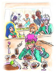 Disastrous Life of Saiki K. // Cafe by adrawer4ever