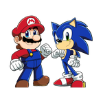 Mario and Sonic - Friendly Rivals by BlueTyphoon17