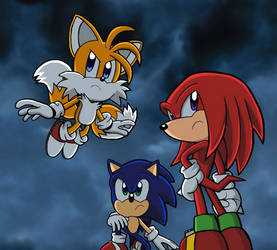 Team Sonic at the Final Fortress (Sky Background) by BlueTyphoon17
