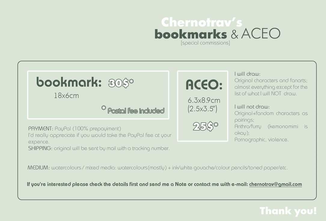 CM: bookmarks and ACEO by chernotrav