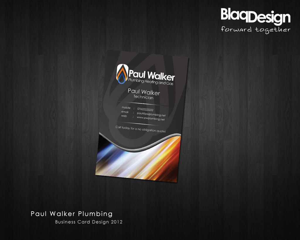 Paul Walker Plumbing Business Card Design by blaqdesign on